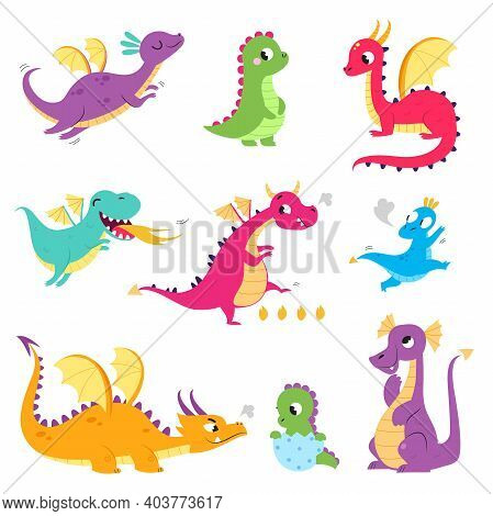Cute Colorful Little Dragons Set, Funny Baby Dinosaurs, Fairy Tale Characters Cartoon Style Vector I