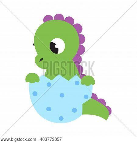 Cute Little Green Dragon Sitting In Eggshell, Funny Baby Dinosaur, Fairy Tale Character Cartoon Styl