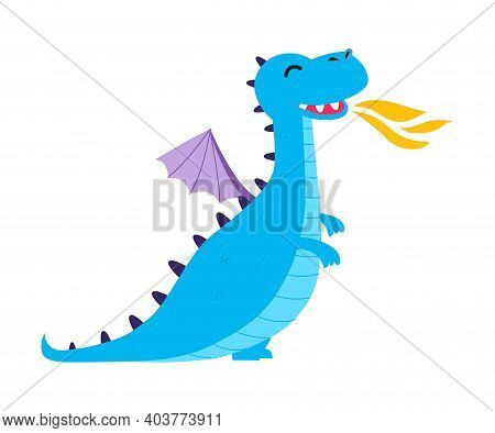Cute Little Blue Baby Dragon Spitting Fire, Funny Fantastic Creature, Fairy Tale Character Cartoon S