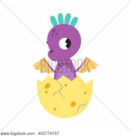 Adorable Purple Little Dragon In Eggshell, Funny Baby Dinosaur, Fairy Tale Character Cartoon Style V