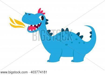 Cute Little Dragon Spitting Fire, Funny Baby Dinosaur Fairy Tale Character Cartoon Style Vector Illu