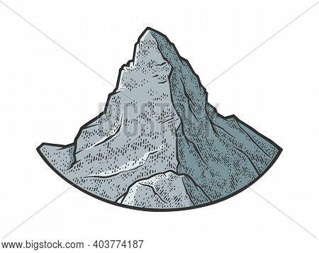 Matterhorn Mountain Of The Alps Sketch Color Engraving Vector Illustration. T-shirt Apparel Print De
