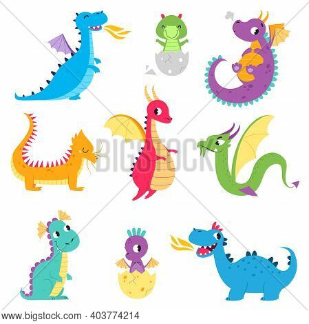 Cute Colorful Little Dragons Set, Adorable Fantastic Creatures, Fairy Tale Characters Cartoon Style