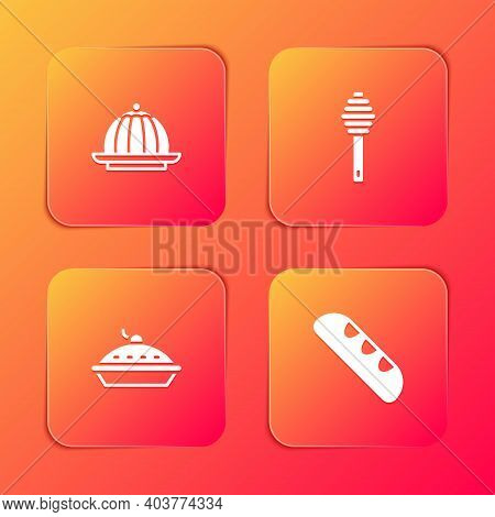 Set Pudding Custard, Honey Dipper Stick, Homemade Pie And French Baguette Bread Icon. Vector