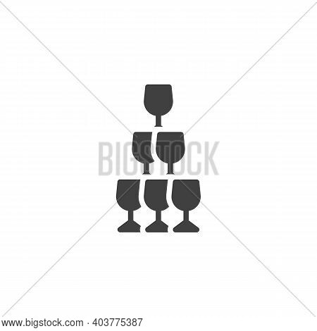 Champagne Glass Pyramid Vector Icon. Filled Flat Sign For Mobile Concept And Web Design. Champagne P
