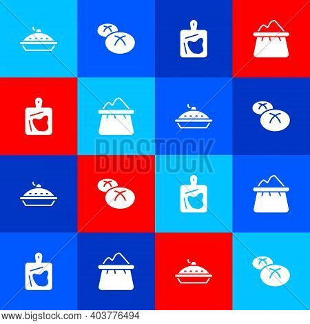 Set Homemade Pie, Bread Loaf, Cutting Board And Bag Of Flour Icon. Vector