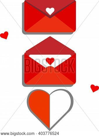 Envelope With A Declaration Of Love. Three States, A Closed Envelope, An Open Envelope And The Valen