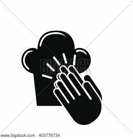 Clapping Palms To Toque Icon. Black Glyph Design. Vector Illustration.
