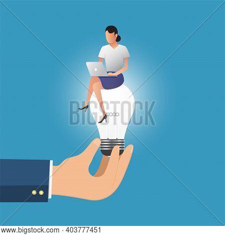 Business Hand Holding Lightbulb Concept. Business Women Working On The Lightbulb. Business Concept.