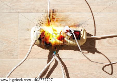The Extension Cord Lies On The Floor With A Large Current Consumption. The Concept Of High Energy Co