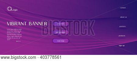 Fluid Background. 3d Flow Lines Movement. Curve Gradient Brochure. Wave Digital Magazine. Purple Vib