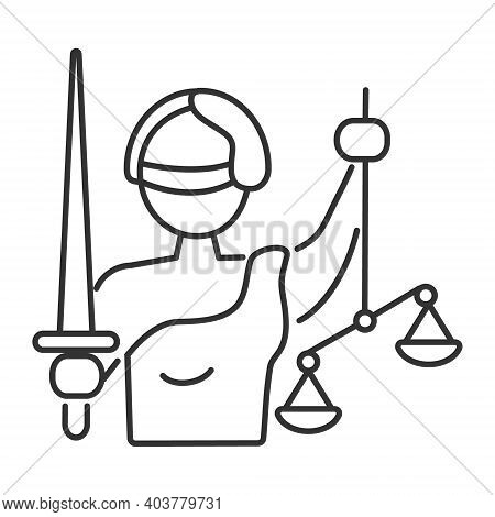 Fair, Justice Icon Vector. Themis Blindfolded. The Goddess Holds A Scale And Sword.