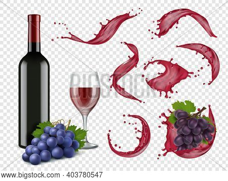 Wine Splashes. Liquid Red Drops Grapes Bottles And Glasses For Alcoholic Drinks Vector Realistic Set