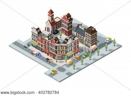 Old Town Isometric. Map 3d Urban Infrastructure Retro Historical Houses And Constructions Vector Bui