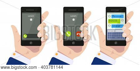 Incoming Call. Hand Holding Smartphone, Calling Mobile And Chat In Message App Vector Concept. Commu