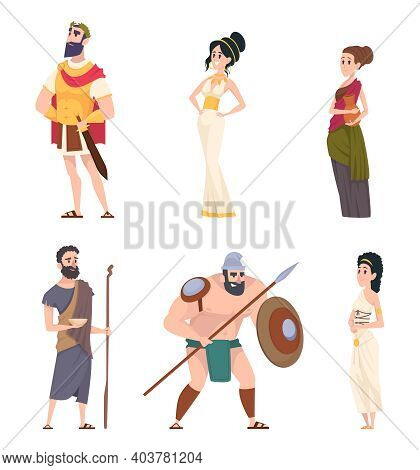 Ancient Rome Characters. Coliseum Gladiator Warriors With Weapon Citizens Men Traditional Cultural P