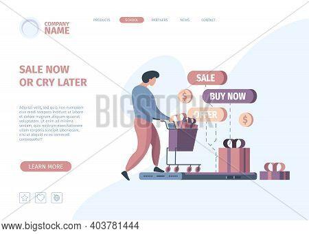 Online Store Landing. Digital Shopping Business Payment Modern E Commerce Technology Garish Vector W