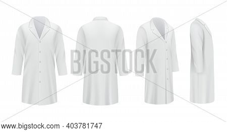 Medical Coats. White Templates Professional Doctor Clothes Specialists Uniform Decent Vector Mockup.