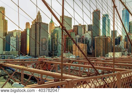 New York, Usa - March 9, 2020: View From Brooklyn Bridge In Afternoon Light With Manhattan Skyscrape