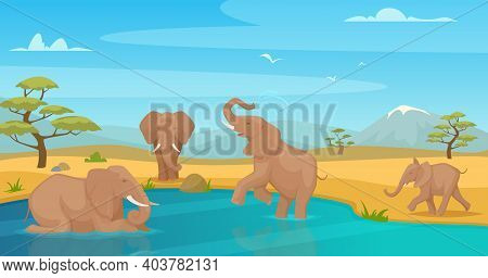 Elephant Drink Water. Savanna Wild Animals Walking In Kenya Safari Travel Exact Vector Cartoon Backg