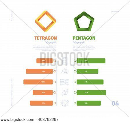 Comparison Graph. Business Infographic Selection Charts Versus Comparator Products Garish Vector Tem