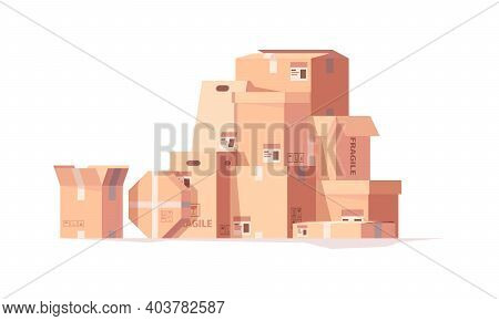 Packages Stack. Delivery Cardboard Boxes Cargo Containers Hills Piles Garish Vector Set. Illustratio