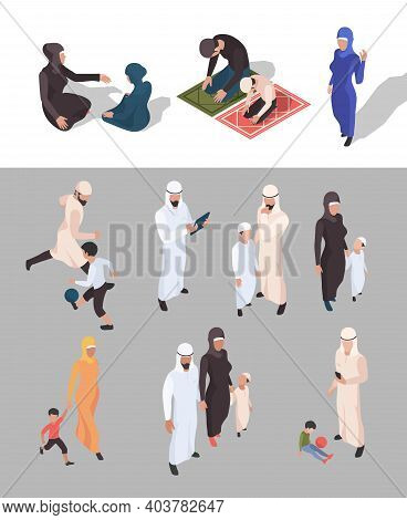 Muslim People. Isometric Arab Persons Traditional Big Family Islam Garish Vector Persons Isolated. I