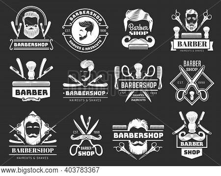 Gentleman Logo. Barber Shop Items Scissors Blade Comb Brush Hair Dryer Recent Vector Labels. Illustr