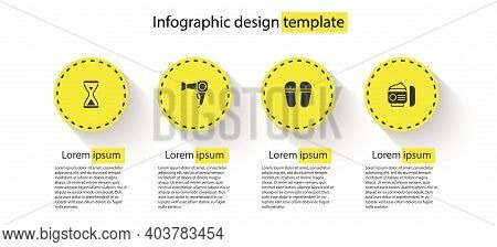 Set Sauna Hourglass, Hair Dryer, Flip Flops And Cream Or Lotion Cosmetic Tube. Business Infographic