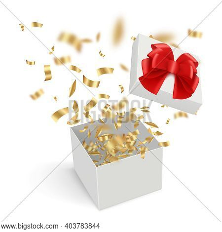 Surprise Boxes. Opened Gift Cardboard Containers With Explode Confetti Ribbons Decent Vector Realist