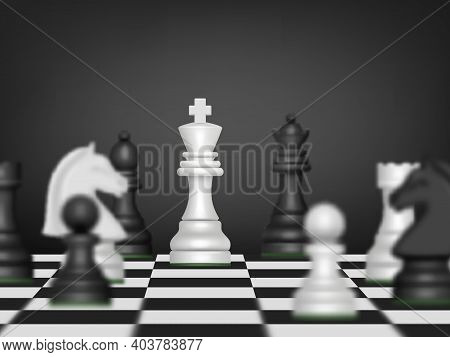 Chess Battle. Strategy Business Concept With Chess Figures On Wooden Game Board Decent Vector Realis