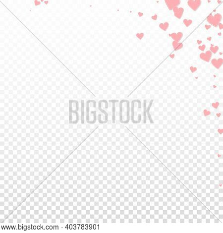 Pink Heart Love Confettis. Valentines Day Corner Mind-blowing Background. Falling Stitched Paper Hea