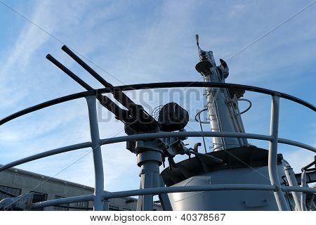 A World War 2 anti-aircraft deck gun poster