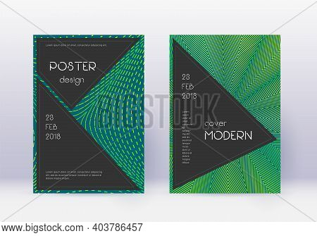 Black Cover Design Template Set. Green Abstract Lines On Dark Background. Actual Cover Design. Valua