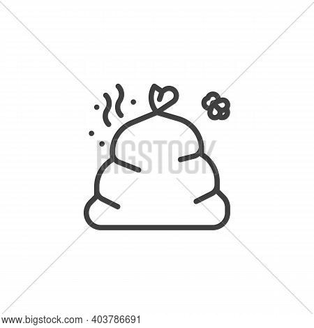 Smelly Garbage Line Icon. Food Waste Linear Style Sign For Mobile Concept And Web Design. Full Trash
