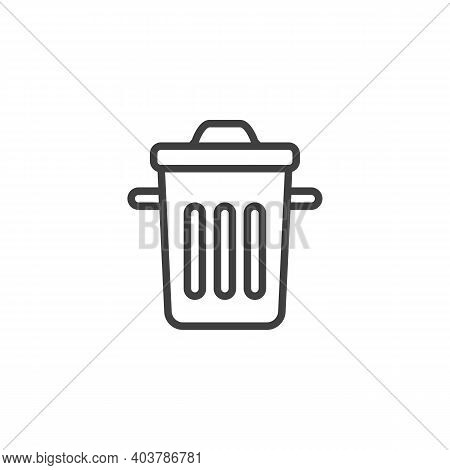 Trash Can Line Icon. Linear Style Sign For Mobile Concept And Web Design. Dustbin Outline Vector Ico