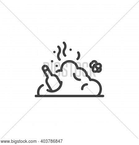 Garbage Pile, Rubbish Line Icon. Linear Style Sign For Mobile Concept And Web Design. Smelly Trash B