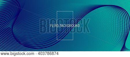 Blue Dynamic Wave. Fluid 3d Flyer. Vivid Geometric Lines. Dynamic Wave. Vibrant Poster. Flow Layout.