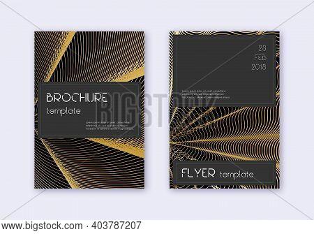 Black Cover Design Template Set. Gold Abstract Lines On Black Background. Alive Cover Design. Surpri
