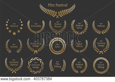Golden Shiny Award Laurel Wreaths With Different Nominations Isolated On Grey Background. Vector Fil