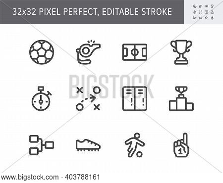 Football Sport Flat Icons. Vector Illustration With Minimal Icon - Soccer, Scoreboard, Stopwatch, Re