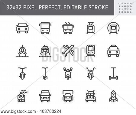 Transport Front View Flat Icons. Vector Illustration With Minimal Icon - Ship, Bus, Car, Truck, Scoo