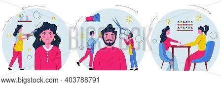 Hairdresser Making Female Fashion Haircut To Women Clients, Barber Cuts A Man's Beard And Girl Paint