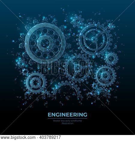 Abstract Vector 3d Gear Wheels In Dark Blue. Cogs And Gear Wheel Mechanisms Wireframe. Engineering O