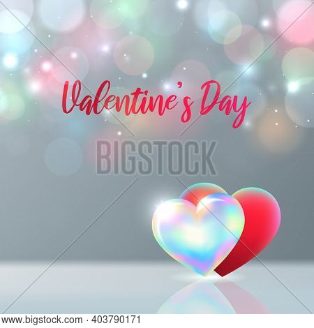 Valentines Day Card. Red, Rainbow Shining Hearts On Pastel Background, Multicolored Bokeh. Happy Val