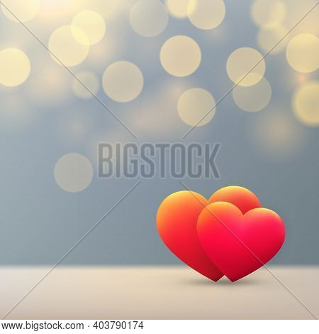 Valentines Day Card, Shining Red Gold Hearts On Pastel Background With Gold Bokeh. Happy Valentine D
