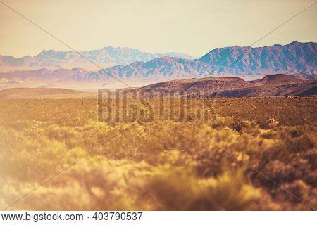 Early Fall California Mojave Desert Raw Landscape. United States Of America.
