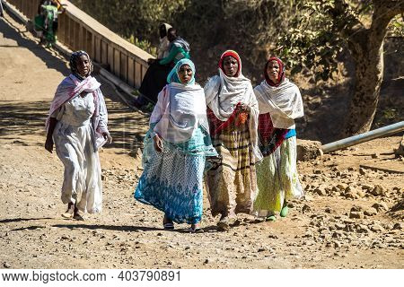 Aksum, Ethiopia - Feb 08, 2020: Ethiopian People On The Road From Axum To The Simien Mountains, Nort