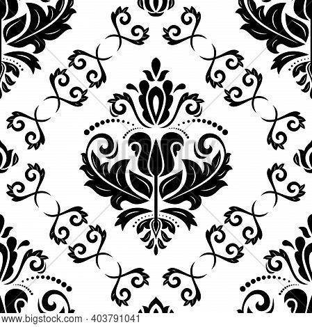 Classic Seamless Pattern. Damask Orient Black And White Black And White Ornament. Classic Vintage Ba
