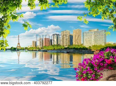 Eiffel Tower And Skyscrapers On River Seine In Paris